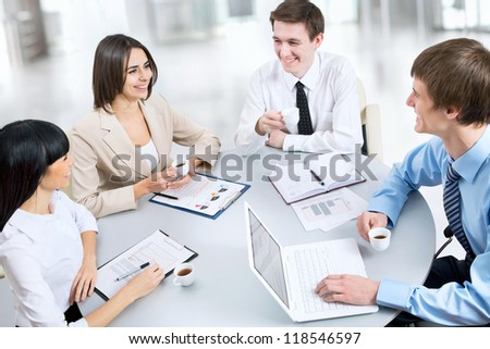 Image of business people working at meeting - stock photo