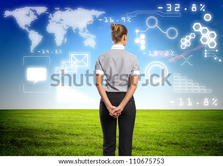 Image of business person with digital symbols - stock photo