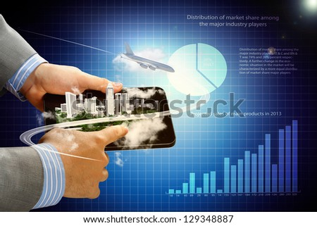 Image of businessman hands touching pad with virtual illustration against diagram background - stock photo