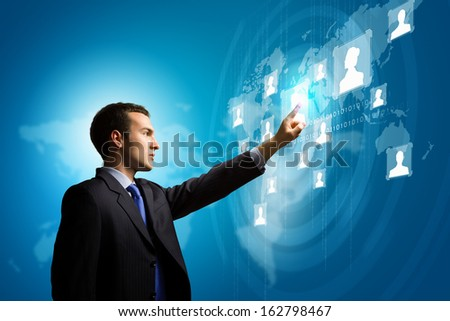 Image of businessman touching icon of media screen. Social nets - stock photo