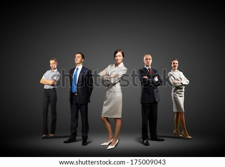 Image of businesspeople group posing. Teamwork concept - stock photo