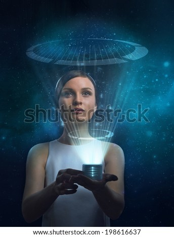 Image of businesswoman of the future working with media screen - stock photo
