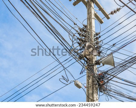 image of busy line on electric pole . - stock photo