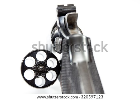 Image of .38 Cal Revolver close up isolated. - stock photo