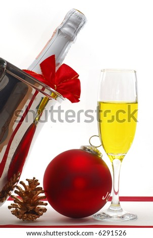 Image of Champagne decorated with Christmas ornaments - stock photo