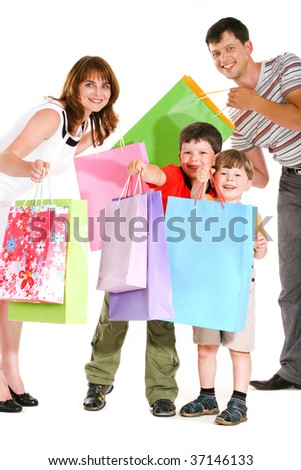 Image of cheerful family members standing next to each other with happy expression - stock photo