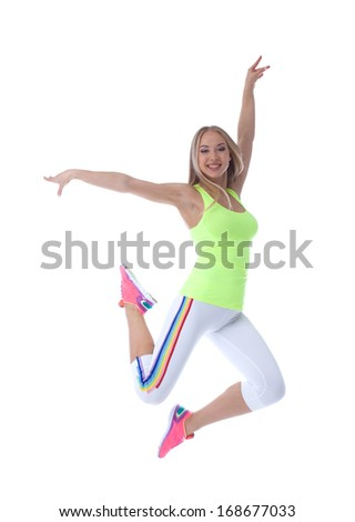 Image of cheerful young blonde posing in jump - stock photo