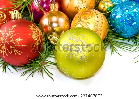 image of christmas tree decorations on a white background - stock photo