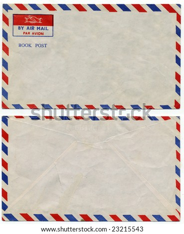 image of classic vintage air mail envelope - stock photo