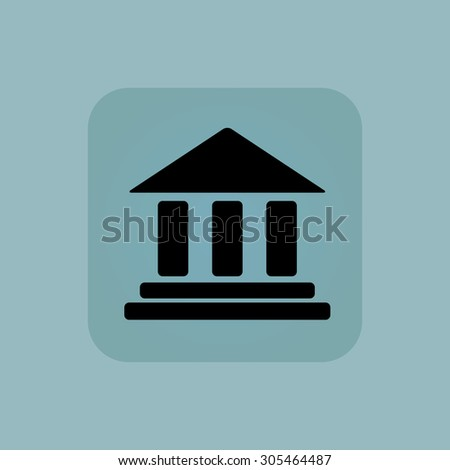 Image of classical building with pillars in square, on pale blue background - stock photo