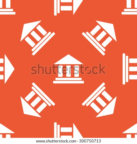 Image of classical building with pillars, repeated on orange background - stock photo
