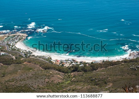 Image of Clifton Beach from Lions Head, Cape Town, South Africa - stock photo