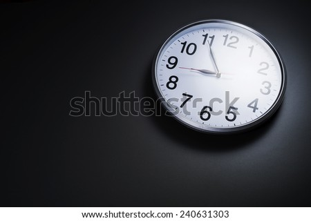 Image of clock on with left space room for text - stock photo