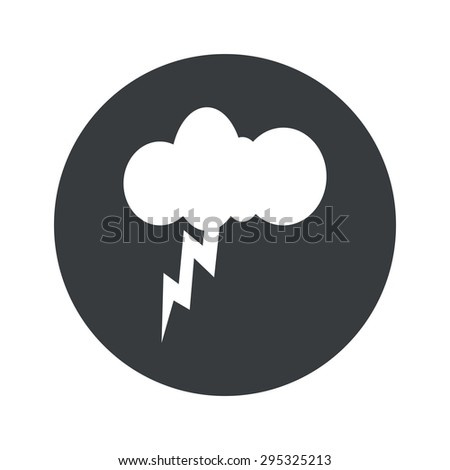 Image of cloud and lightning in black circle, isolated on white - stock photo
