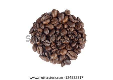 Image of coffee beans in circle shape against white background - stock photo