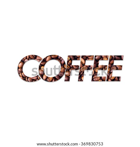 Image of coffee in text Coffee on background - stock photo