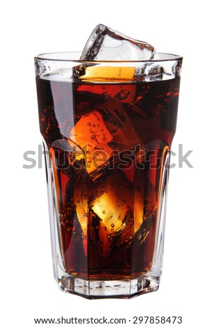 Image of Cola glass with ice cubes over white background - stock photo