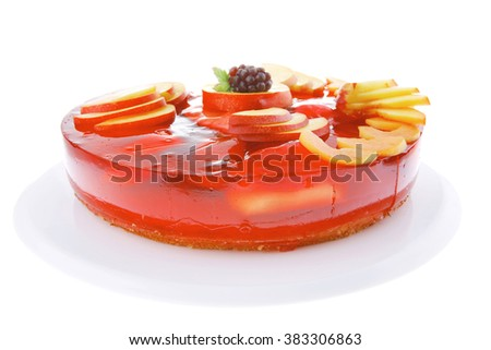 image of cold red jelly pie with nectarine and peach - stock photo
