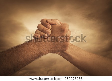 Image of  collaborate with handshake - stock photo
