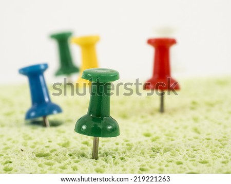 Image of color office pin close-up - stock photo