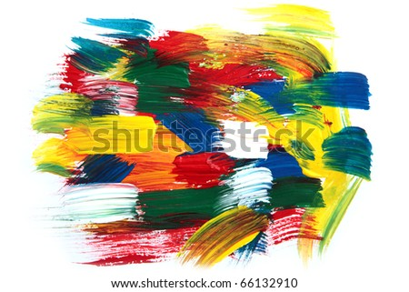 Image of colorful paint strokes on white paper. - stock photo