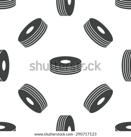 Image of compact disc pile, repeated on white background - stock photo