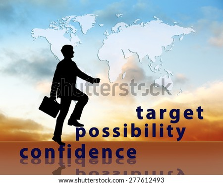 Image of confident businessman with briefcase walking up to target. Map from NASA http://visibleearth.nasa.gov/view_rec.php?id=2433.  - stock photo