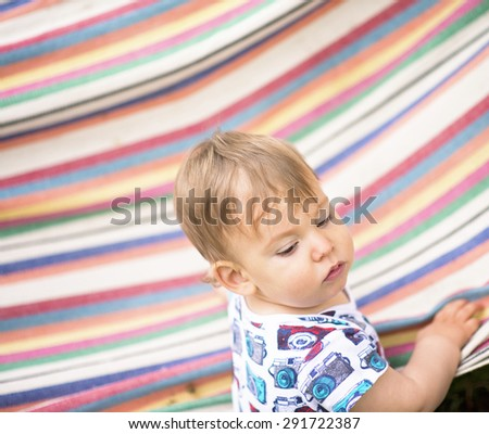 Image of cute baby boy, closeup portrait of adorable child - stock photo