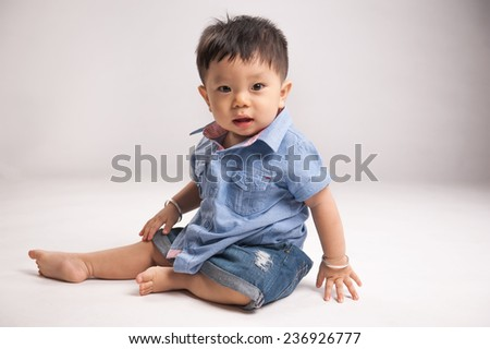Image of cute baby boy, closeup portrait of adorable child isolated on white background, healthy childhood, perfect asian infant, lovely kid, innocence concept - stock photo