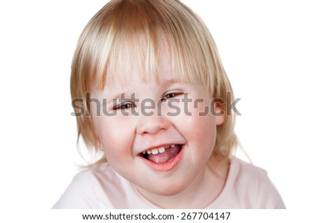 Image of cute happy girl, closeup portrait of adorable child isolated on white background - stock photo