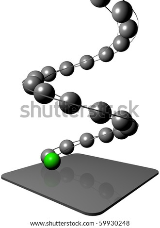 Image of 3d balls on the spiral path from top to bottom, accompanied by the leading one green  ball - stock photo