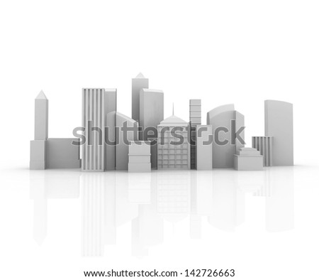 image of 3d render of city scape with skyscraper - stock photo