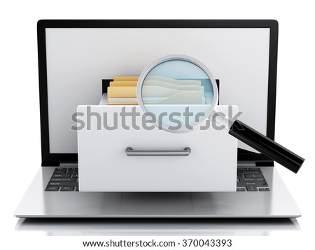 image of 3d renderer illustration. Laptop and files. Data storage. Isolated white background - stock photo