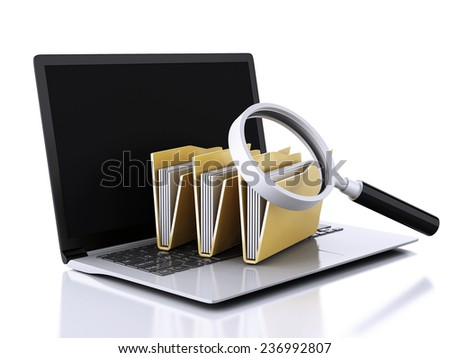 image of 3d renderer illustration. laptop, magnifying glass and computer files - stock photo