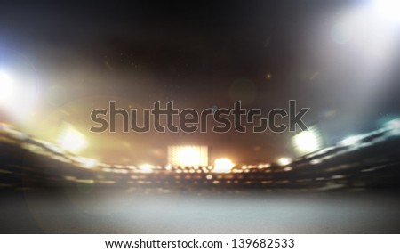 Image of defocused stadium lights at night - stock photo