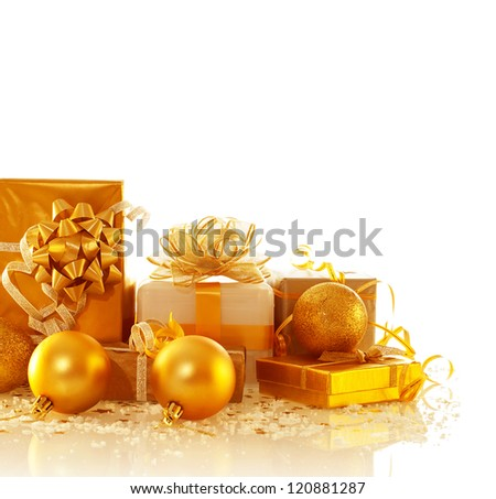 Image of different Christmas presents isolated on white background, luxury golden gift boxes with decorative bubbles, New Year surprise, festive border, holiday greeting card, Christmastime concept - stock photo