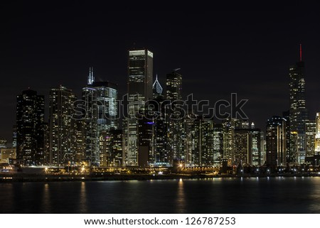 Image of distance view of building at night - stock photo
