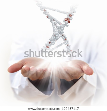 Image of DNA strand against background with human hands - stock photo