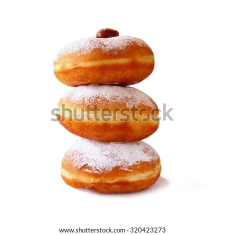 image of donuts. isolated on white. jewish holiday Hanukkah symbol  - stock photo