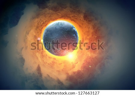 Image of earth planet in space against illustration background - stock photo