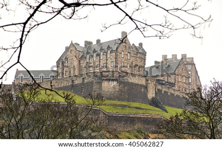 Image of Edinburgh castle in Scotland. Some noise. - stock photo