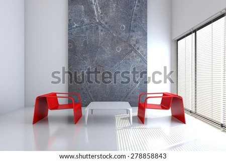 Image of empty interior with furniture 3D rendering - stock photo
