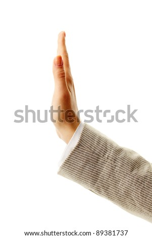 Image of female hand showing sign of stop - stock photo