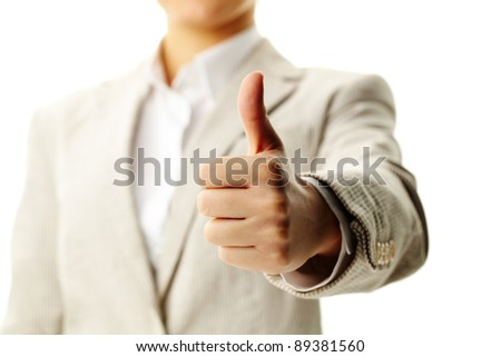 Image of female hand showing thumb up in isolation - stock photo