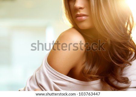 Image of female model shoulder - stock photo