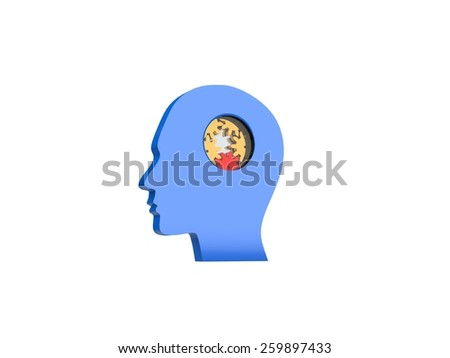 Image of gears inside of a man's head  - stock photo