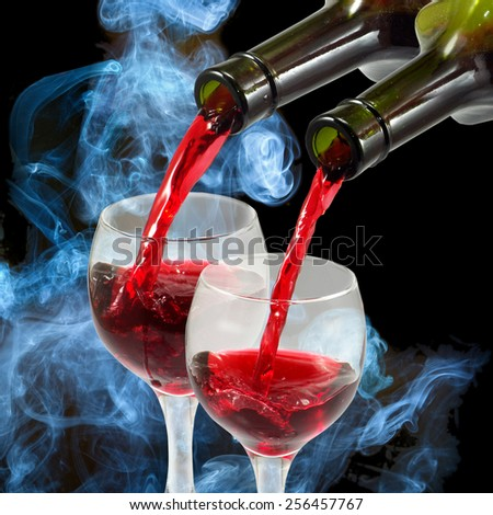 image of glasses and bottles of wine - stock photo
