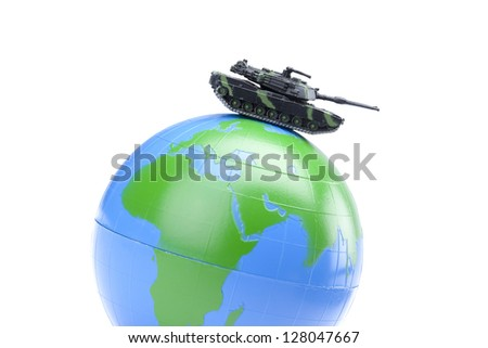 Image of globe with military tank against white background - stock photo