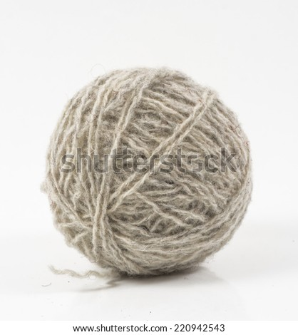 Image of gray wool ball isolated close up - stock photo