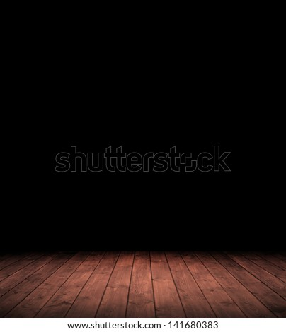 Image of grunge dark room interior with wood floor. - stock photo
